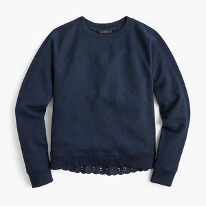 J.Crew Eyelet-back sweatshirt Navy Blue